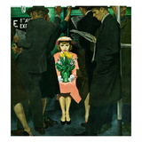 """Subway Girl and Easter Lily"", March 28, 1953 Giclee Print by George Hughes"