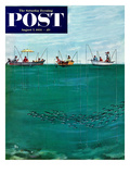 """School of Fish Among Lines"" Saturday Evening Post Cover, August 7, 1954 Gicléetryck av Thornton Utz"