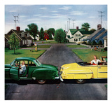 """Backup Collision"", August 4, 1956 Giclee Print by Stevan Dohanos"