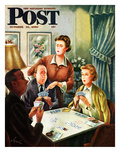 """Bridge Game"" Saturday Evening Post Cover, October 14, 1950 Giclee Print by Constantin Alajalov"