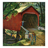 """Covered Bridge"", August 14, 1954 Giclee Print by John Falter"