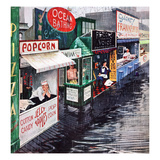 """Rain on the Boardwalk"", July 2, 1955 Giclee Print by George Hughes"