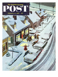 """Party After Snowfall"" Saturday Evening Post Cover, February 12, 1955 Giclee Print by Ben Kimberly Prins"