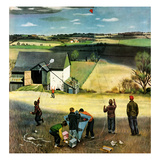 """Flying Kites"", March 18, 1950 Giclee Print by John Falter"
