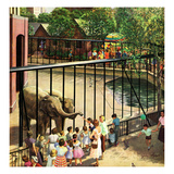 """Feeding the Elephants"", July 25, 1953 Giclee Print by John Clymer"