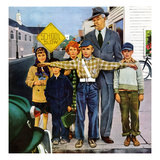 """Crossing Guard"", September 6, 1952 Giclee Print by George Hughes"