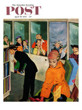 """""""Soudproof Listening Booths"""" Saturday Evening Post Cover, April 19, 1952 Giclee Print by Thornton Utz"""