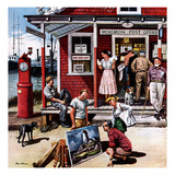 """Coastal Postal Office"", August 26, 1950 Giclee Print by Stevan Dohanos"