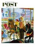 """Amusement Park Carousel"" Saturday Evening Post Cover, August 9, 1958 Giclee Print by Earl Mayan"