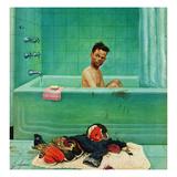"""Quarterback in the Tub"", November 15, 1952 Giclee Print by John Clymer"