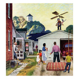 """Learning to Fly"", June 20, 1953 Giclee Print by John Falter"