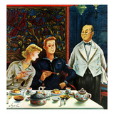 """How to Use Chopsticks"", January 12, 1952 Giclee Print by Constantin Alajalov"