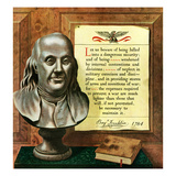 """Benjamin Franklin - Bust and Quote"", January 20, 1951 Giclee Print by John Atherton"