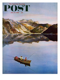 """Fishing on Mountain Lake"" Saturday Evening Post Cover, July 16, 1955 Giclee Print by John Clymer"