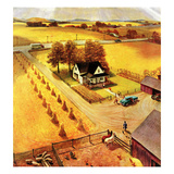 """Thanksgiving on the Farm"", November 26, 1955 Giclée-Druck von John Clymer"