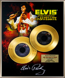 "Elvis Presley - ""Aloha From Hawaii"" 35th Anniv. Gold 45s Framed Memorabilia"