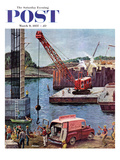 """Bridge Construction"" Saturday Evening Post Cover, March 9, 1957 Giclee Print by Ben Kimberly Prins"
