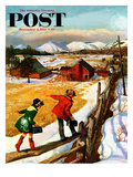 """Walking on the Fence"" Saturday Evening Post Cover, December 4, 1954 Giclee Print by John Clymer"