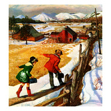 """Walking on the Fence"", December 4, 1954 Giclee Print by John Clymer"