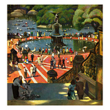 """Boating in Central Park"", July 11, 1953 Giclee Print by John Falter"