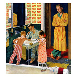 """Brushing Their Teeth"", January 29, 1955 Impression giclée par Amos Sewell"