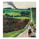 """Chasing the Fire Truck"", June 30, 1956 Giclee Print by John Falter"