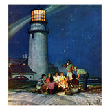 """Beach Bonfire"", September 16, 1950 Giclee Print by Mead Schaeffer"