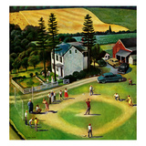 &quot;Family Baseball&quot;, September 2, 1950 Giclee Print by John Falter