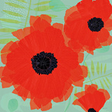 Collection of Poppies on Blue Prints by Susy Pilgrim Waters