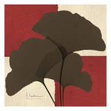 Ginkgo Brown Trio on Red Posters by Albert Koetsier