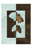 Ginkgo on Blue and Brown Squares Posters by Albert Koetsier