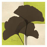 Ginkgo Brown Trio on Green Prints by Albert Koetsier