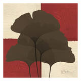 Ginkgo Brown Quad on Red Print by Albert Koetsier