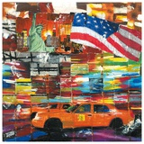 New York, 2 Taxis et Drapeau Prints by Annick Bru