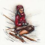 Skieuse Assise Prints by Stephanie Holdert