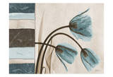Tulip With Blue/Brown Damask Panel Posters by Albert Koetsier