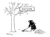 The Grim Reaper rakes up a pile of leaves under a tree with a placard that… - New Yorker Cartoon Premium Giclee Print by Mike Twohy