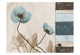 Poppies With Blue-Brown Damask Panel Prints by Albert Koetsier
