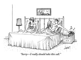 """Sorry–I really should take this call."" - New Yorker Cartoon Premium Giclee Print by Tom Cheney"