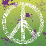 Peace, Love, Music (on green) Prints