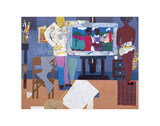 Profile/Part II, The Thirties: Artist with Painting and Model, c.1981 Posters av Romare Bearden