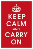 Keep Calm, fondo rosso Stampe