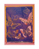Andy Warhol - Vanishing Animals: Butterflies, c.1986 (Peach on Navy) Umění