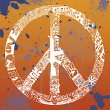 Peace, Love, Music (on orange) Posters