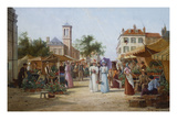 The Market Place, Limburg, Holland Giclee Print by William Raymond Dommersen