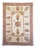 A Quilted Susani, Embroidered with a Border of Shrubs, the Inner Field with Floral Medallion and… Posters