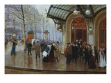 Outside the Theatre Du Vaudeville, Paris Print by Jean Beraud