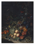 Peaches, Grapes, Pomegranates, Melons, a Corncob, Apricots, Plums, Pears, Acorns Giclee Print by Rachel Ruysch