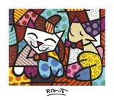 Happy Cat and Snob Dog Print by Romero Britto