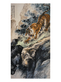 Ferocious Tiger Stalking a Mountain Path Art by Zhang Shanzi